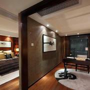 新中式别墅卧室隔断书房设计效果图