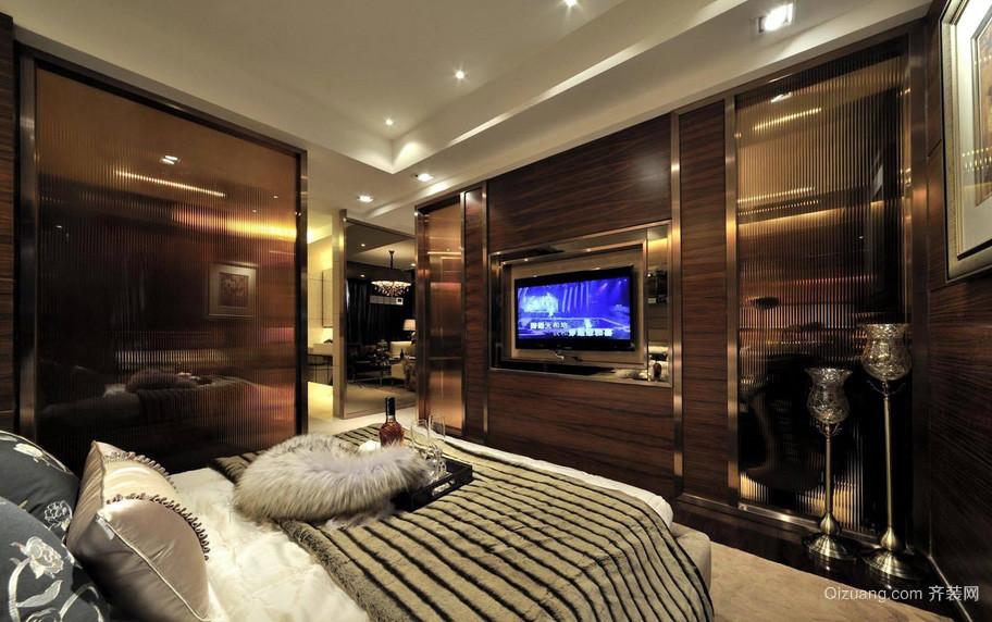 深色系后现代风格大卧室装修效果图