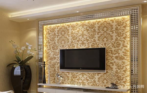 2016唯美的欧式别墅型客厅电视背景墙装修效果图