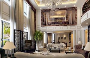 奢华大型复式楼挑高窗帘装修效果图