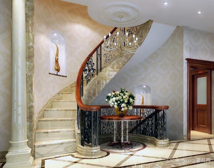 2016欧式风格 别墅 型楼梯 装修效果 图实例欣赏