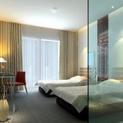 宾馆简约卧室玻璃隔断装饰