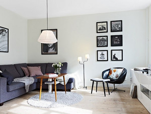 70平米北欧浅色系小户型家居客厅装修效果图