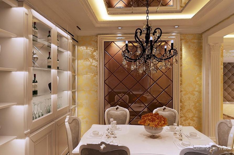 欧式古典复式楼餐厅吊灯装修效果图