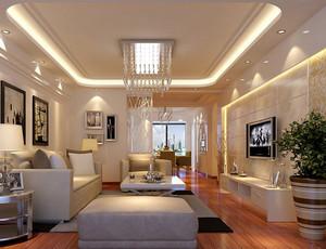 复式楼简欧风格客厅家装吊顶设计效果图