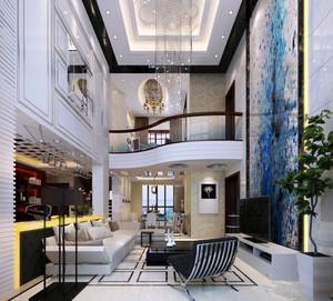 现代复式楼豪华大客厅电视背景墙装修图