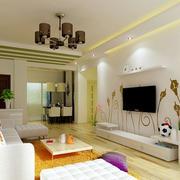 素雅清新小户型客厅电视背景墙设计图片