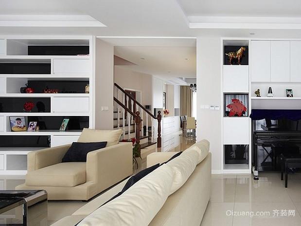 复式现代简约风格黑白色居民楼客厅装修图