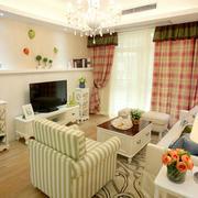 韩式简约风格电视背景墙样板间装饰