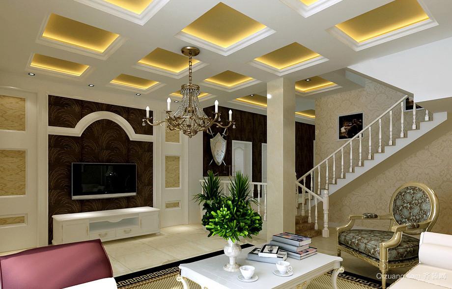 欧式303平米复式楼客厅吊顶装修效果图