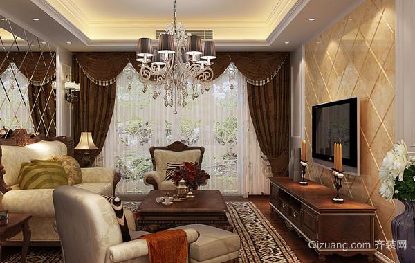 欧式风格复式楼客厅家装窗帘装修效果图
