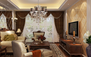 家庭深色系窗帘装饰