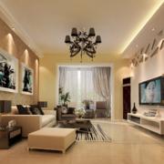 90平米大户型现代简约装修样板间客厅效果图