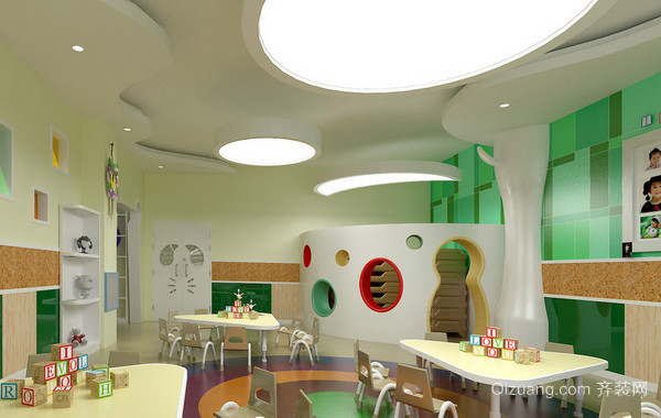 幼儿园简约风格教室吊顶装饰图片