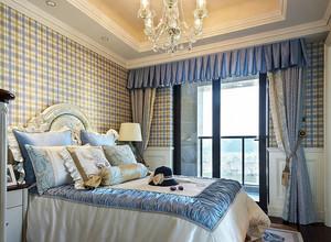 30平米欧式简约风格格子型装家卧室壁纸图