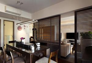 中式两室一厅客餐厅隔断设计效果图
