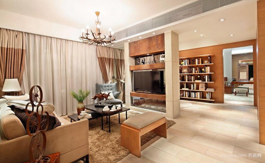 原木风137平米家居客厅隔断设计效果图