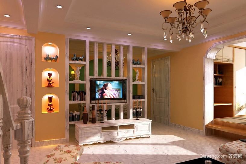 田园风格小客厅电视背景墙设计图片