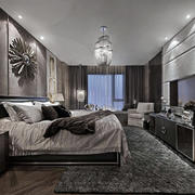 冷色调后现代风格别墅卧室装修效果图