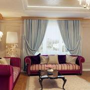 欧式清新暖色系客厅浅色窗帘