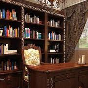 书房整体式原木书橱装饰