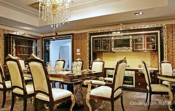 大型别墅法式奢华浪漫餐厅装修效果图