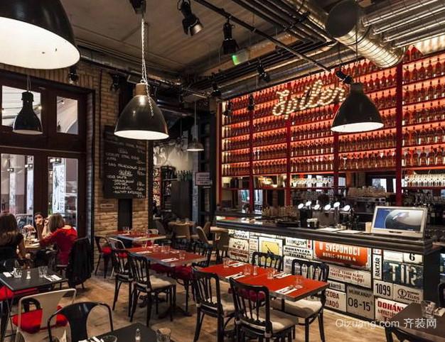120平米美式混搭风格酒吧装修效果图