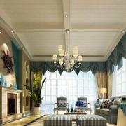 地中海别墅客厅石膏板吊顶装饰