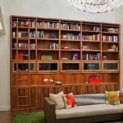 两室一厅简约木屋客厅原木储物柜装修图