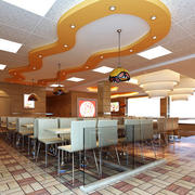 快餐店简约风格创意吊顶装饰