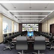会议室简约风格皮制桌椅装饰