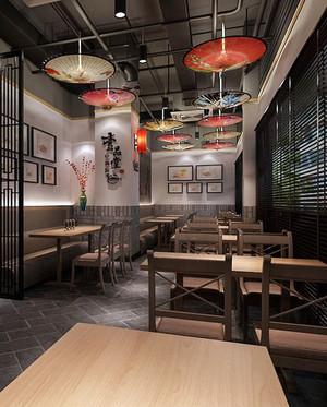 120平米中式风格简约快餐店装修效果图