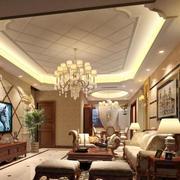 美式豪华308平米客厅水晶灯装修效果图