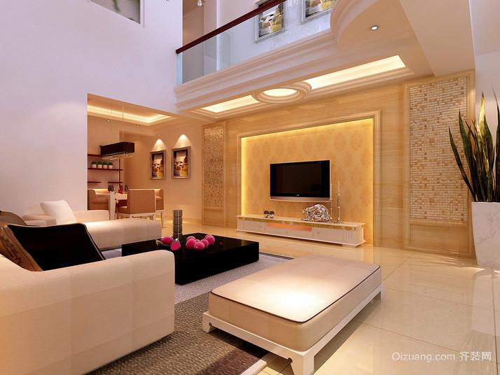 现代小复式楼客厅电视背景墙效果图