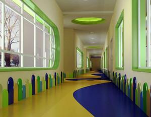清新浅绿色幼儿园过道主题墙装修效果图