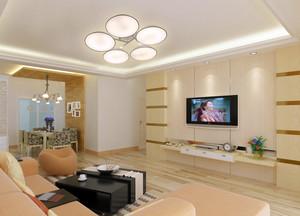 温馨舒适63平米家居客厅吊灯装修效果图