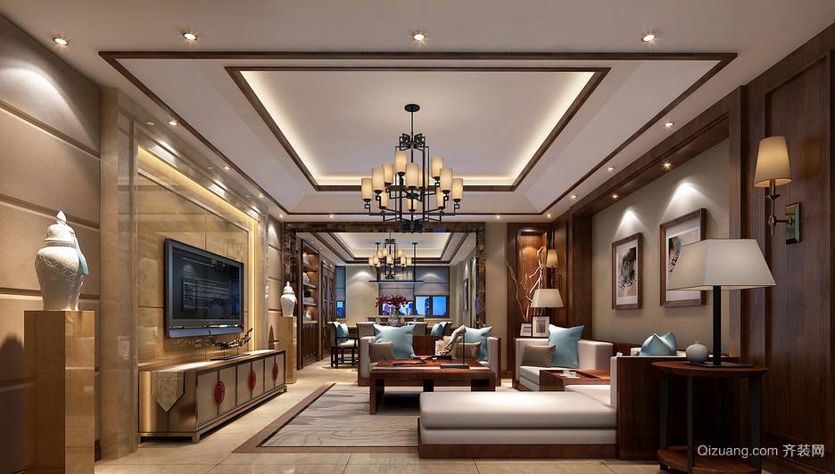 新中式高贵大别墅客厅灯装修效果图