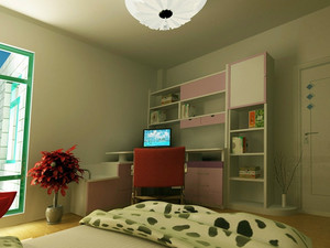 两室一厅现代简约风格书房书柜装修效果图