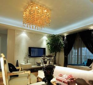 120平米后现代风格精致客厅电视背景墙装饰