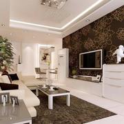 客厅深色系电视背景墙装饰
