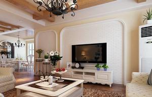 田园风格小复式楼客厅电视背景墙效果图