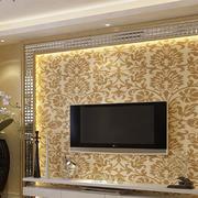暖色调电视背景墙整体图