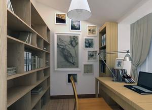 80平米现代精致的小户型书房装修效果图实例