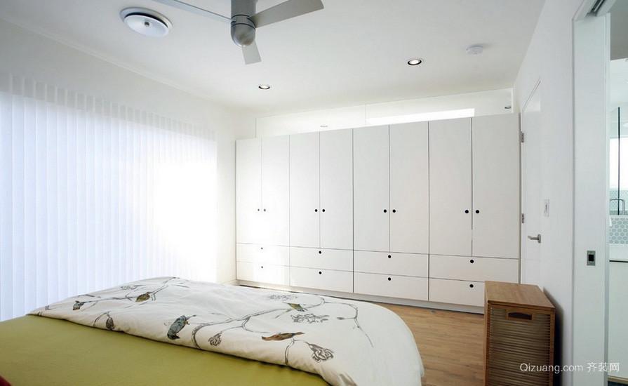 清新白色80平米家居卧室大衣柜效果图