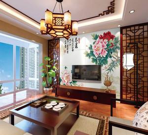 中式风格老年公寓客厅电视背景墙效果图