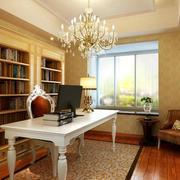 大型别墅欧式风格书房书柜装修效果图