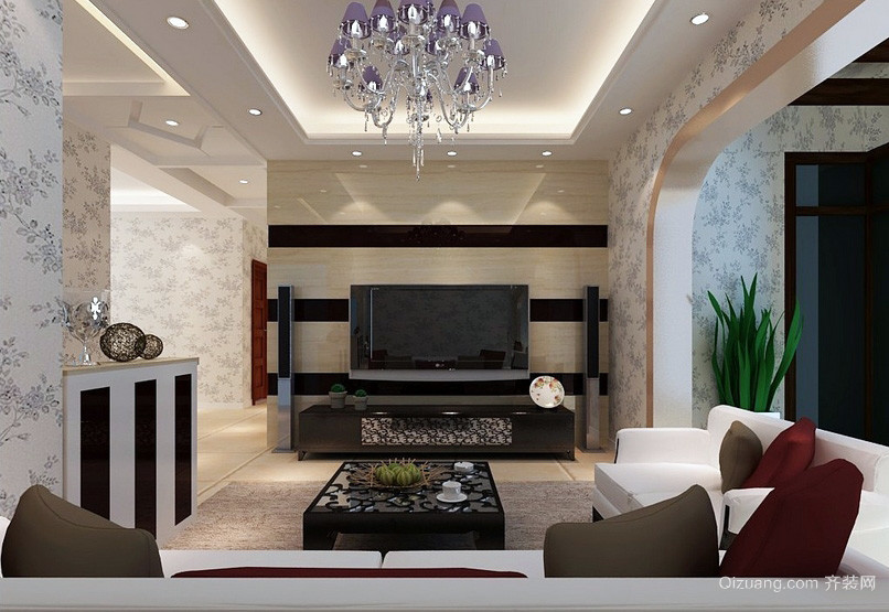 法式简约小客厅电视背景墙效果图