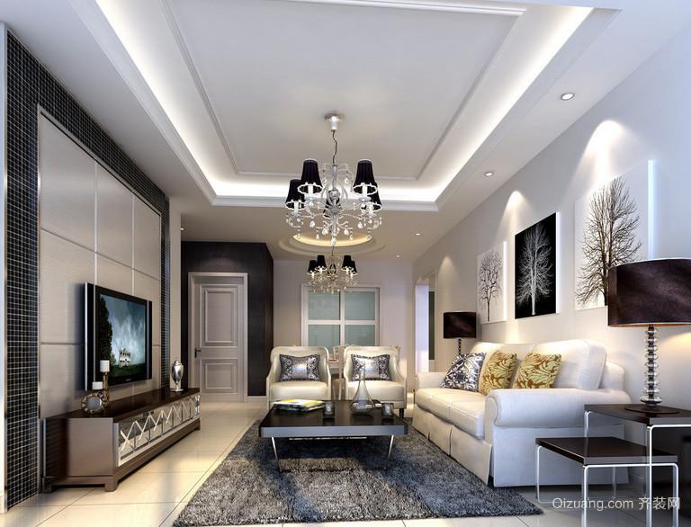 90平米现代欧式大户型客厅吊顶装修效果图