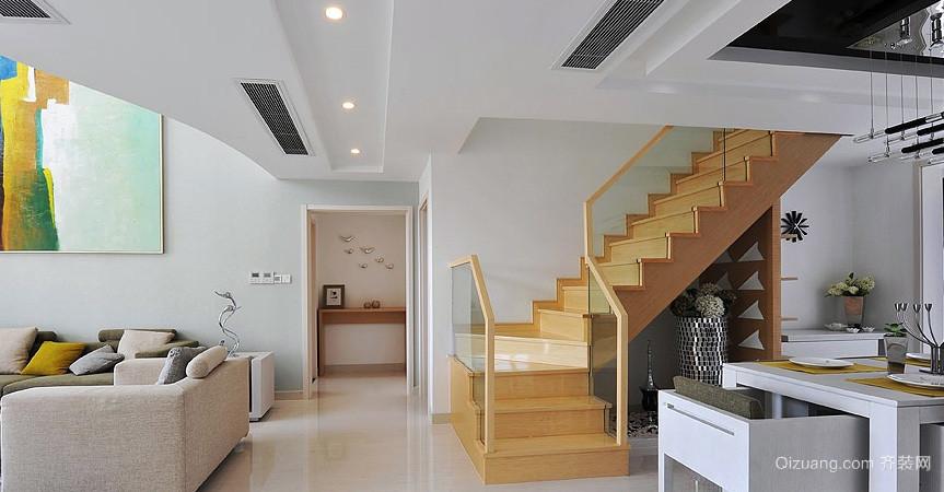 现代简约跃层阁楼原木楼梯装修效果图