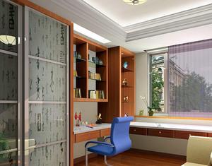 中式风格三室一厅书房电脑桌装修效果图